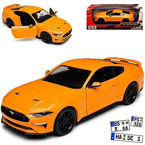Motormax Ford Mustang VI Coupe Orange Modell Ab 2014 Version ab Facelift 2017 1/24 Modell Auto mit individiuellem Wunschkennzeichen
