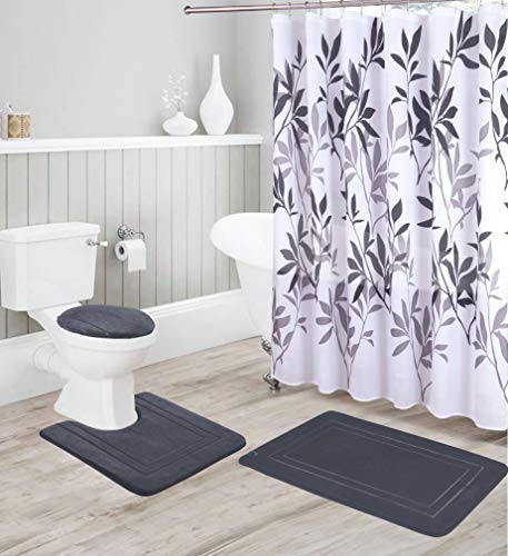 Better Home Style 16 Piece Solid Color Modern Design Embossed Memory Foam None-Slip Bathroom Rug Set Includes Bath Rug, Contour Mat, Lid Cover, Shower Curtain and 12 Roller Ball Hooks (Charcoal)