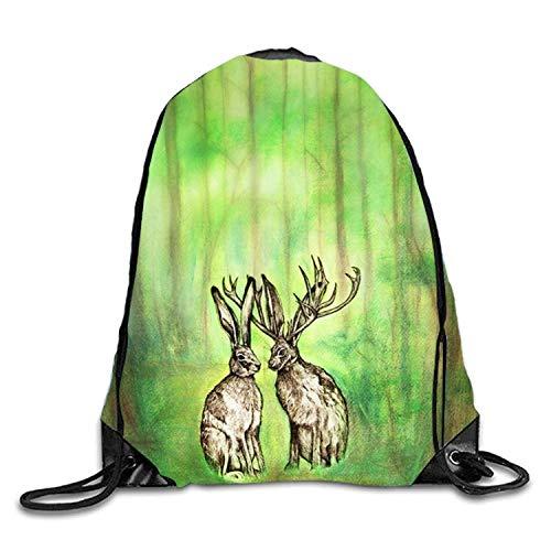 uykjuykj Bolsos De Gimnasio,Mochilas,Blooming Colors Sackpack Drawstring Backpack Waterproof Gymsack Daypack For Men Women Two Deer in Green3 Lightweight Unique 17x14 IN