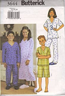 Butterick Sewing Pattern 3644 for Boys' or Girls' Nightgown, Top, Shorts and Pants, Sizes 12, 14, & 16.