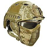 QZY Airsoft Paintball Schutzhelm, Taktische Helme mit Stahlgitter Maske CS Spiel Set 8 Farbe,DD