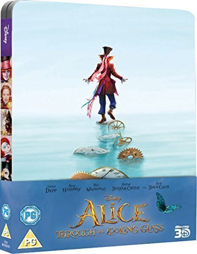 Alice Through The Looking Glass 2016 3D Includes 2D Version - UK Exclusive Limited Edition Steelbook Blu-ray Region free