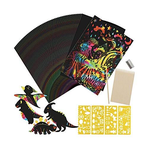 Kratzbilder Set für Kinder, Abree 50 Große Blätter Regenbogen Kratzpapier zum Zeichnen und Basteln mit Schablonen, Holzstiften