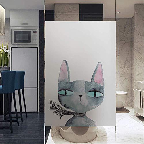 Mattfensteraufkleber Transparent Undurchsichtig Elektrostatisch Mattglasfolie Bad Glastürfolie Katze