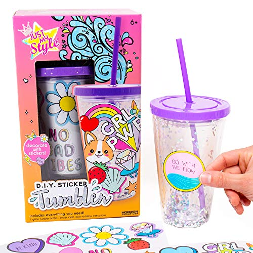 Just My Style DIY Sticker Tumbler by Horizon Group USA, Style & Embellish Your Own BPA Free VSCO Glitter Water Tumbler. Reusable Stickers Included