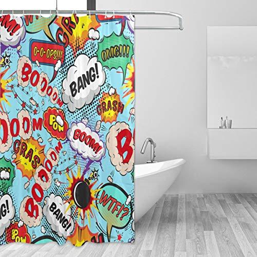 FANTAZIO Duschvorhang, Motiv: Comic Sprechblasen, Bang! Boom! Muster, Polyester, mit dicken C-förmigen Haken, für Badezimmer, wasserdicht, langlebig & super wasserdicht, 183 x 183 cm