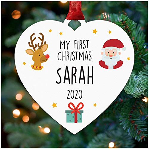 Personalised Baby's First 1st Christmas Tree Bauble Decoration - Wooden Hanging Heart Ornament Keepsake for Boy or Girl - New Baby Gifts - 1st Baby Christmas - ANY Name Christmas Decoration