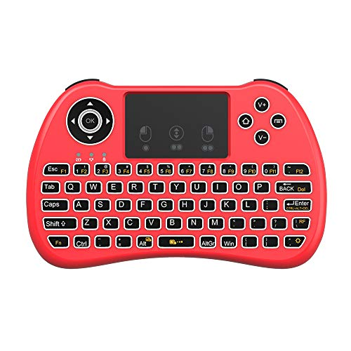 (Upgraded Version) Aerb 2.4GHz Mini Wireless Keyboard with Mouse Touchpad Rechargeable Combos for PC, Pad, Google Android TV Box and More (Backlit-Red)