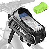 """YIVAR Bike Phone Front Frame Bag - 4 Straps Waterproof Stable Bike Phone Bag with Touch Screen & Sun Visor, Reflective Large Capacity Bicycle Top Tube Phone Pouch Fits Cell Phones Under 7"""""""