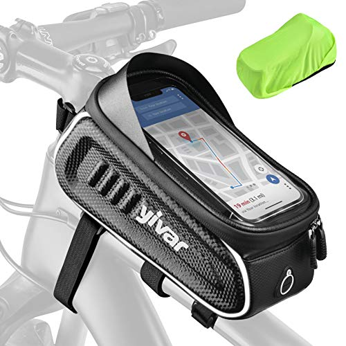 YIVAR Bike Frame Bag Waterproof Bike Phone Mount Bag with 4 Bandages and Anti-slip Pads Super Stable Large Storage Reflective Bike Pouch Bag with Rain Cover Suitable for Smartphone Under 7 Inch