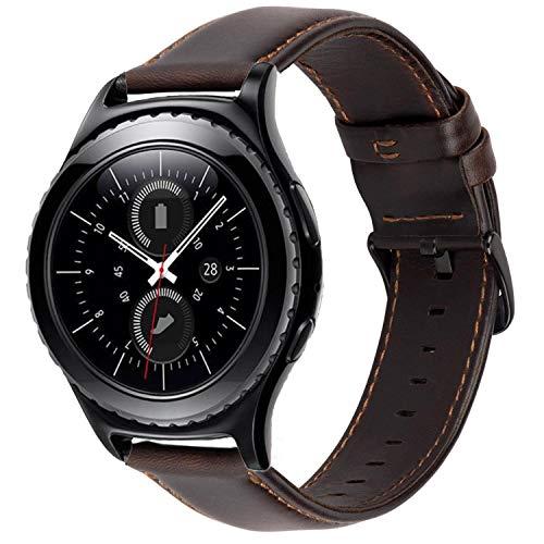 iBazal Correas 20mm Cuero Piel Pulseras Bandas Compatible con Samsung Galaxy Watch 3 41mm/Galaxy Watch 42mm/Active 40mm/Active 2/Huawei Watch 2/Gear S2 Classic/Gear Sport (Reloj No Incluido) -