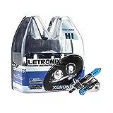 LETRONIX Halogen Auto Lampen H1 12V 8500K Kalt Weiß Xenon Optik Gas Ultra White Look...