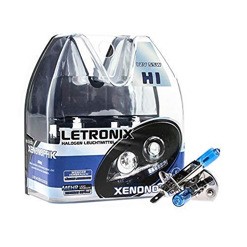 LETRONIX Halogen Auto Lampen H1 12V 8500K Kalt Weiß Xenon Optik Gas Ultra White Look Birnen Lampe Abblendlicht Nebelscheinwerfer Fernlicht Kurvenlicht Zulassung E-Prüfzeichen (LED Optik) (H1 55W)