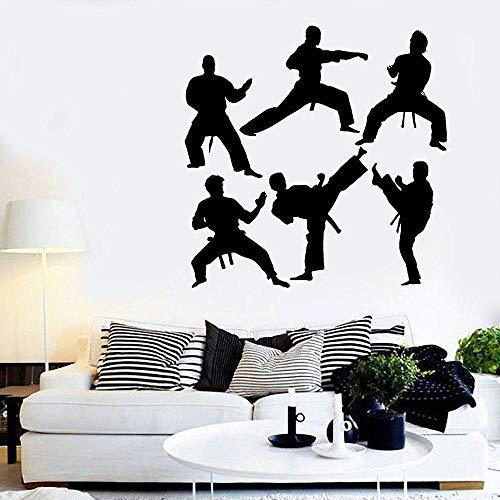 LovelyHomeWJ Chinesische Kung Fu Wandtattoo Martial Figuren Silhouette Kunst Tür Fenster Vinyl Aufkleber Teenager Jungen Schlafzimmer Sport Home Decor 57x57cm
