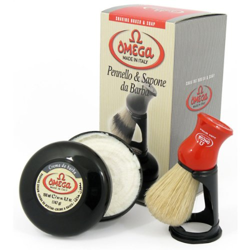 Omega 46065 Shaving Brush Set - Pure Bristle Shaving Brush, Stand, and 150 Milliliter Classic Shaving Cream with Eucalyptus Oil