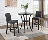 Roundhill Furniture Biony 3-Piece Round Espresso Bar Table with Nail Head Stools, Gray
