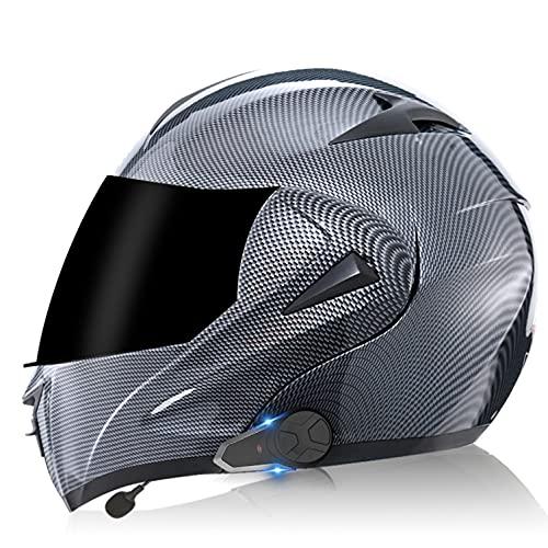 Bluetooth Walkie Talkie Casco de Moto Modular, ECE Homologado Cascos de Motocicleta,Doble Visera,Sistemas de comunicación por intercomunicador para Adultos Hombres Mujeres C,S