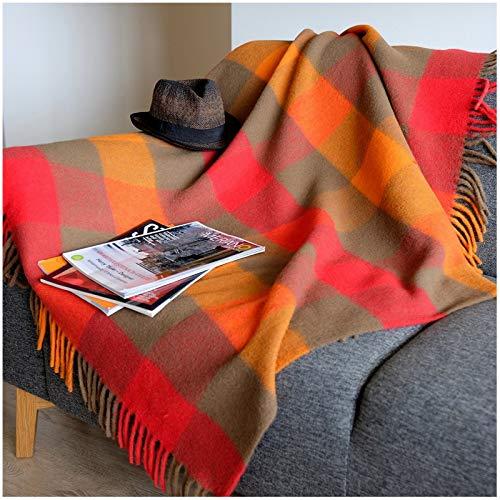 Lujo Alta Calidad Manta Plaid de Sofá/ Cama BOLIVIA - 100% Lana Nueva Zelanda (130 X 170cm, Rojo/ Marrón)