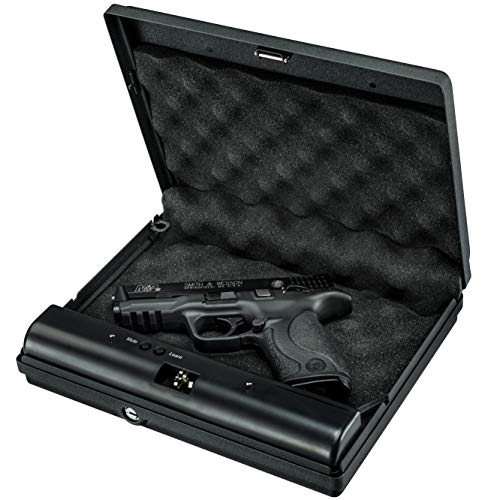 5. GunVault MicroVault Portable Compact Gun Safe with Illuminated No-Eyes Digital Keypad and Security Cable (1 Pistol Capacity)