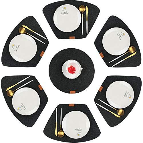 Famibay Filz Platzsets und Runde Tischsets Hitzebeständig Waschbar Tischsets für Runder Tisch 7er Set