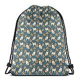 EU mochila con cordón para cachorros y pizza con impresión 3D, bolsa de cuerda, bolsa de cincha para mujeres, hombres, gimnasio, compras, deporte, yoga.