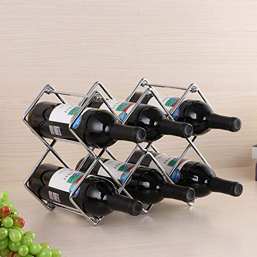 Delgeo Organizador de Almacenamiento de Estante de Vino Independiente de Metal para Encimeras de Cocina, Botellas de Vino, Cerveza, Gaseosas Refrescos, 3 Niveles, Capacidad para 8 Botellas(Plata)