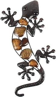 Liffy Metal Gecko Wall Art Lizard Outdoor Decor Garden Decorations Bronze, 15.2 Inches Long