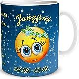TRIOSK Tazza Smiley con scritta divertente con segno zodiacale della Vergine, regalo per donne, uomini, lavoro, ufficio, colleghi, compleanno