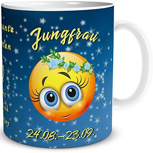 TRIOSK Tasse Smiley mit Spruch lustig Sternzeichen Jungfrau Geburtstagstasse Geschenk für Frauen Männer Arbeit Büro Kollegen Geburtstag