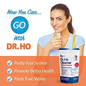 Dr. Ho Cleanse & Restore - Detox-Eliminate Built-up Toxins and Waste; Relieve Discomfort from Constipation, Gas, Upset Stomach; Feel Lighter, Slimmer Energize Gluten Free Fiber Rich Detoxification