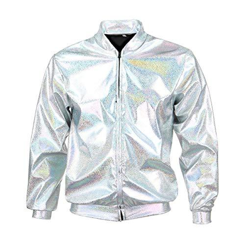 BFD Bomberjacke für Herren und Damen, metallisch, glänzend, leicht, schmale Passform, Silberfarben/Goldfarben Gr. S/M, Silver Holographic