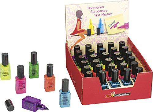 Baier & Schneider Textmarker Leuchtstift Nagellack Fun Collection, 6 Farben sortiert im Display (v