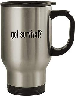 got survival? - Stainless Steel 14oz Travel Mug, Silver
