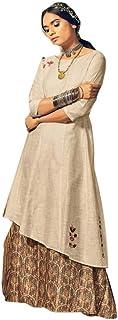 Indian Khakhi Cotton Stylish Casual Formal Occasion Salwar Kameez Muslim Kaftaan Hizaab Suit Set 903/E