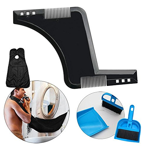 Beard Guide Shaper Tool mit Bartschellfisch und Staubtuch-Kehrschaufel, CNYMANY Shaping & Styling Comb, mit Hair Clippings Catcher & Grooming Cape Apron und Staubtuch-Kehrschaufel