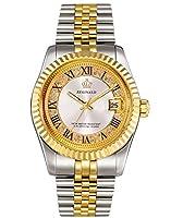 PASOY ユニセックス ステンレススチールウォッチ 夜光針 ダイヤモンドダイヤル ゴールドクォーツ メンズ レディース 防水腕時計 ホワイトダイヤル。