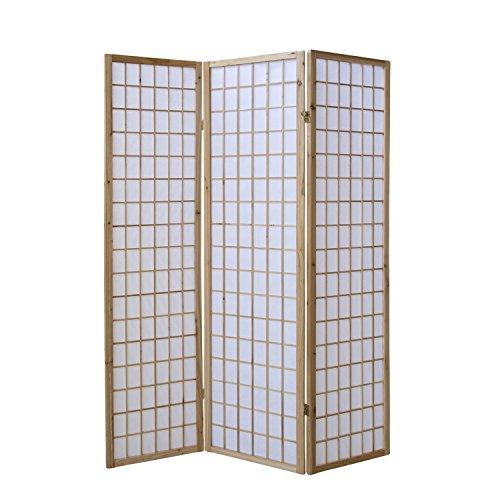 Homestyle4u 68, Paravent Raumteiler 3 teilig, Holz Natur, Reispapier Weiß, Höhe 175 cm