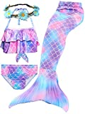 4 PCS Girls Swimsuit Mermaid Tails for Swimming Tankini Top with...