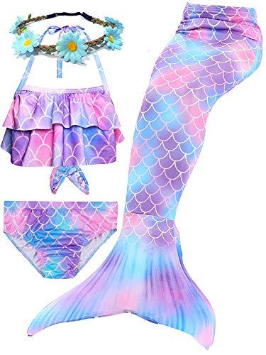 Camlinbo 3Pcs Girls Swimsuits Mermaid for Swimming Mermaid Costume Bikini Set for Big Girls Birthday Gift 3-12 Years