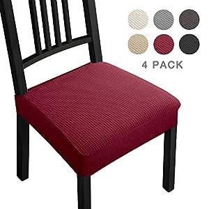 Fundas para sillas Pack de 4 Fundas sillas Comedor Fundas elásticas,Fundas de Asiento para Silla,Diseño Jacquard Cubiertas de la sillas,Extraíbles y Lavables-Decor Restaurante(Paquete de 4,Burdeos)-B
