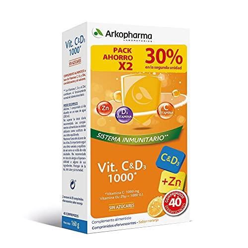 Arkopharma Vitamina C & D3 + Zinc 20 Comprimidos Efervescentes X2 | Asociación De Vitaminas Más Potente Del Mercado | Refuerzo Sistema Inmune | Huesos | Menopausia, 40 Unidad