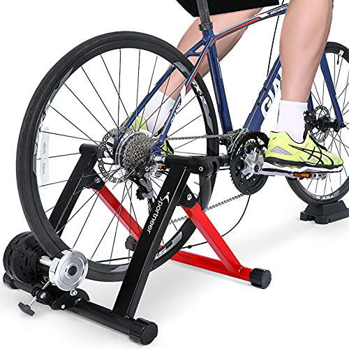 Sportneer Bike Trainer Stand Steel Bicycle Exercise Magnetic Stand for Road Bike with Noise Reduction Wheel