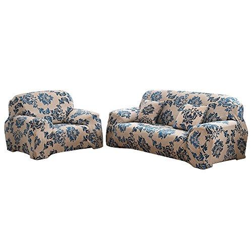Funda elástica para sofá de 1 2 3 4 plazas, cubierta antideslizante en tejido elástico extensible, protector de sofá, Provence, 1 Seater