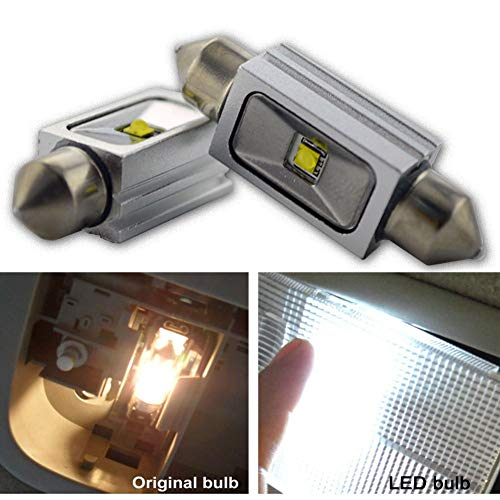 Ruiandsion 2 bombillas LED Canbus Festoon de 39 mm, 12 V, CREE 1SMD 5 W LED para interior de coche, luz de lectura de cúpula, color blanco