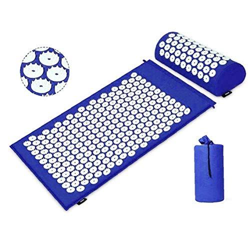 Terapia de acupresión Mat y Juego de almohadas dolor muscular masajeador liberación de tensión de la estera de la parte posterior / masaje del cuello almohada cojín azul con bolsa de transporte
