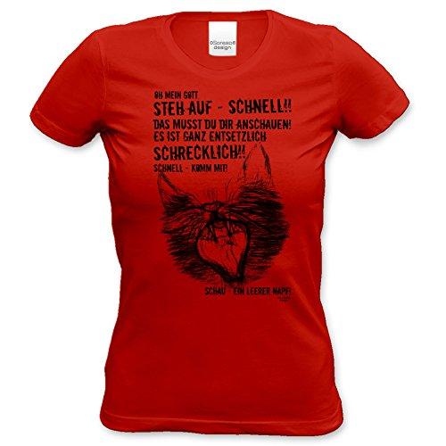 EIN leerer Napf - Katzenmotiv :: Lustiges Sprüche Damen T-Shirt mit Tiermotiv für Frauen :: Geschenkidee für Sie Geschenk für Katzenliebhaber Katzenfans Farbe: rot Gr: S