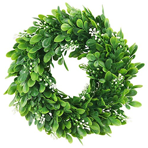 """ElaDeco 10"""" Faux Boxwood Wreath Artificial Green Leaves Wreath for Front Door Wall Hanging Window Wedding Party Decoration"""