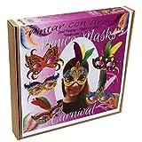Arenart | Pack 5 Máscaras Carnaval Venecia | para Pintar con Arenas de Colores | Manualidades para Niños | Dibujo Intantil | +6 años
