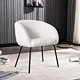 ONEVOG Sherpa Vanity Chair Modern Accent Chair, Comfy Upholstered Armchair for Dining, Makeup, Living Room, Bedroom, Reading, Black Metal Legs (White)