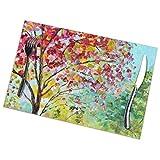Asekngvo - Set di 6 tovagliette stampate su strada con albero fiorito e tavolo da pranzo, lavabili per cucina, sala da pranzo, decorazione per la casa, 30 x 45 cm